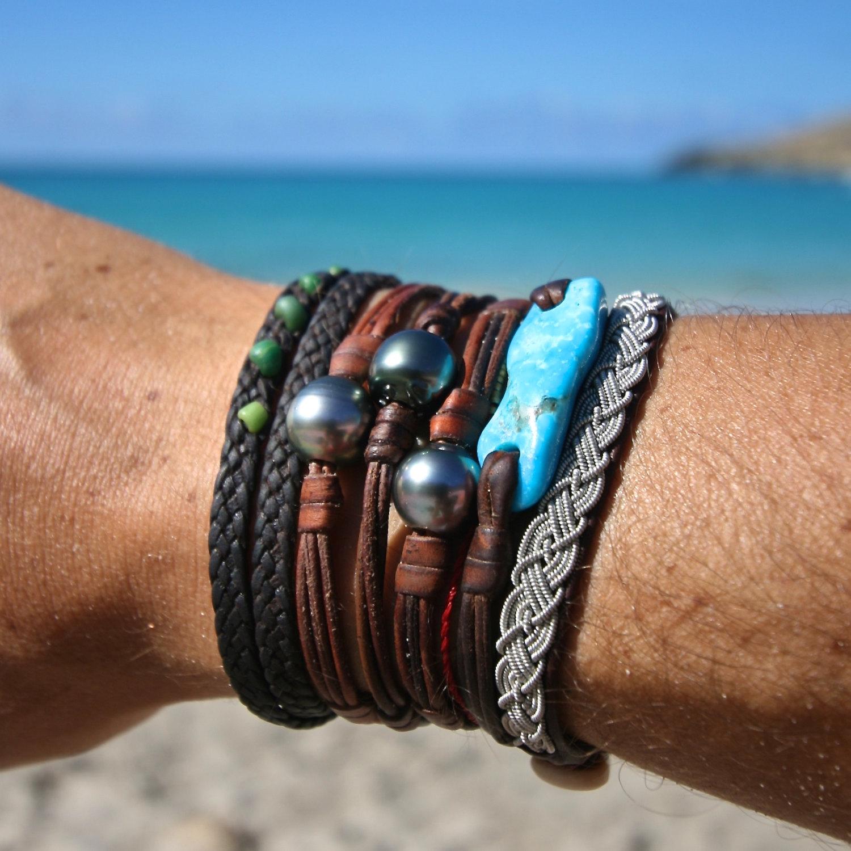 Single Tahitian Pearl On Leather Minimalist Jewelry From