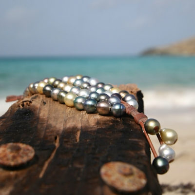 4 leather strands bracelet strung with cultured pearls, St Barth island jewelry, Leather bracelet for woman, gift for xmas, custom bracelet