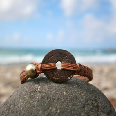 Ancient Japanese coin strung on leather with Tahitian black pearls, Bracelet for men, old money, bohemian pirate genuine jewelry, St Barts.