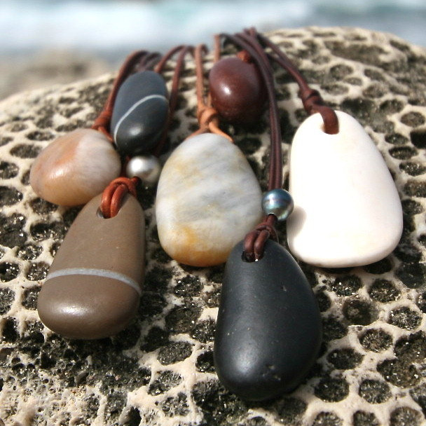 Peeble, river stone, surf stone on leather with Tahitian black pearl, boho, leather jewelry, beach jewerly, St Barth Signature