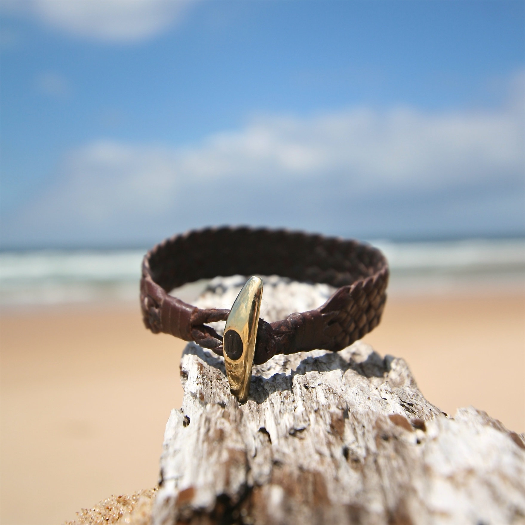 Genuine huge 18k gold clasp on leather, super chic luxury bracelet yachting, St Barths signature, gold an leather handmade seaside jewelry
