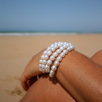 4 leather strands cuff bracelet featuring  50 white cultured South sea pearls, St Barth island jewelry, bridal jewelry, wedding bracelet